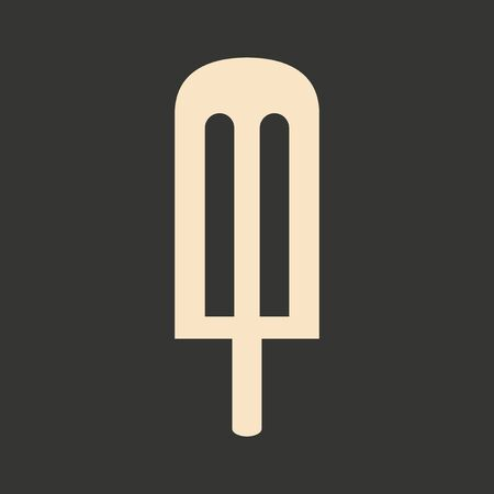 lolly: Flat in black and white mobile application ice lolly Illustration