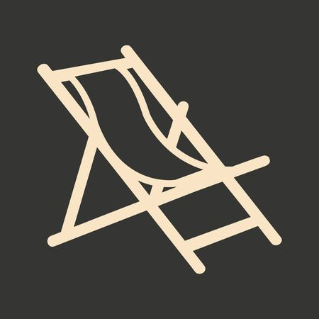 white wood: Flat in black and white mobile application deckchair Illustration