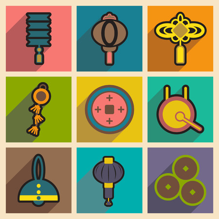 the attributes: Stylish assembly of Japanese attributes realistic icon on yellow backgrounds Illustration