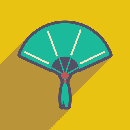 Japanese open fan realistic icon on yellow backgrounds