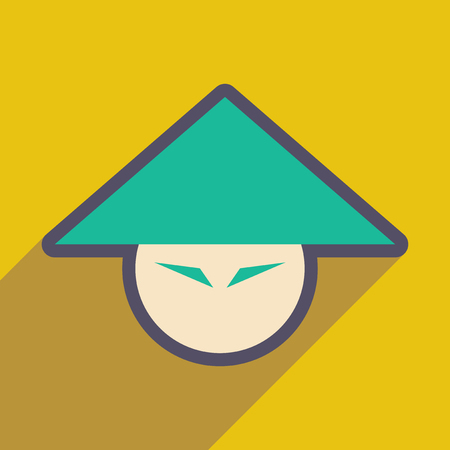 spicy mascot: Japanese hats realistic icon on yellow backgrounds
