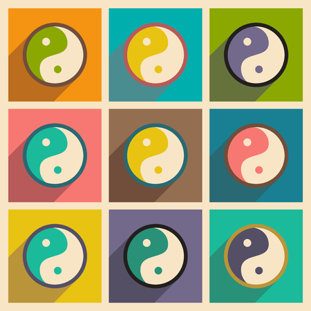 karma concept: assembly yin yang symbol of harmony realistic icon on yellow backgrounds