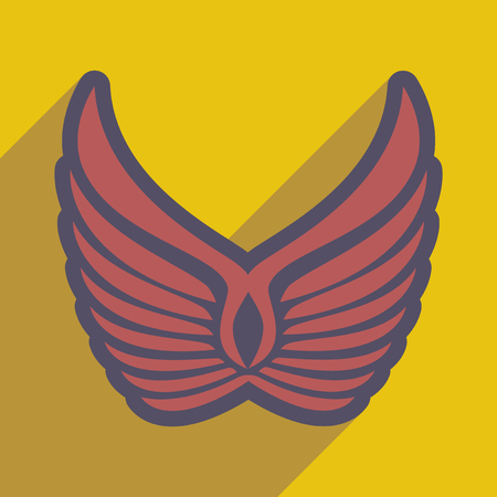 phoenix: stylish wings of an eagle realistic icon on yellow backgrounds