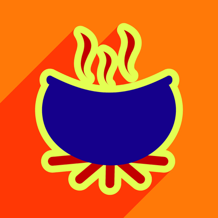 horrific: Flat with shadow icon cauldron on a bright background