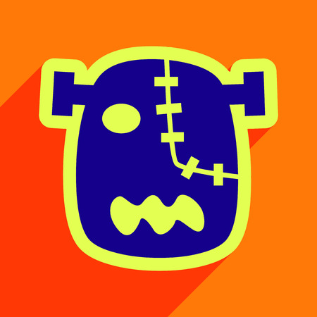 Flat with shadow Icon Zombie head on a bright background