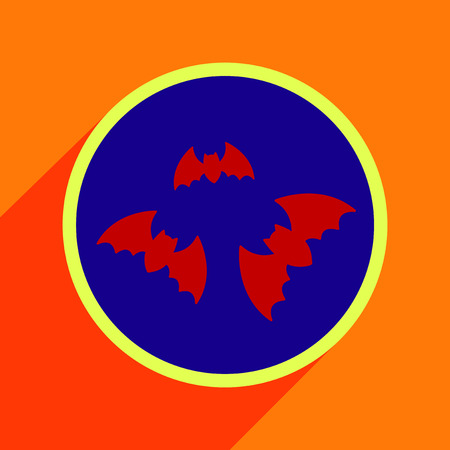 Flat with shadow Icon bats on a colored background Illustration