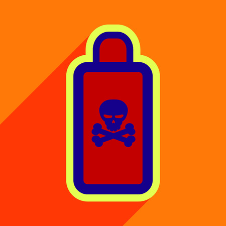 Flat with shadow Icon of poison on a colored background Illustration