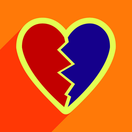 admire: Flat with shadow Icon Heart broken pieces on colored background Illustration