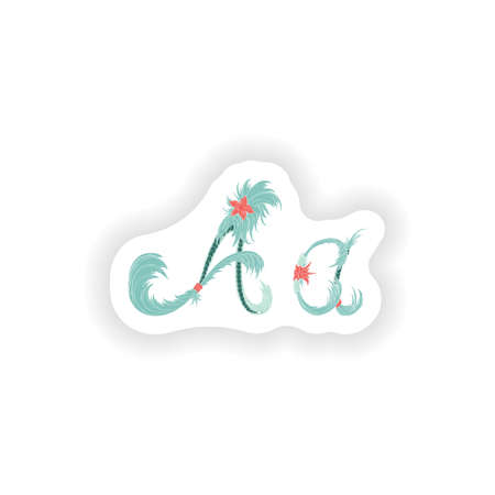 stiker: Stiker Abstract letter A logo icon  in Blue tropical style