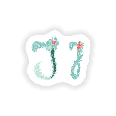 stiker: stiker Abstract letter J logo icon  in Blue tropical style