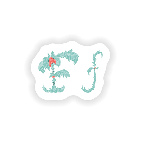 stiker: stiker Abstract letter F logo icon  in Blue tropical style Illustration