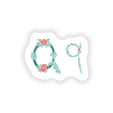 stiker: stiker Abstract letter Q logo icon  in Blue tropical style