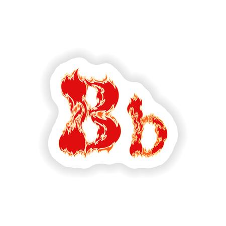 fiery font: sticker fiery font red letter B on white background Illustration