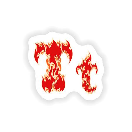 fiery: sticker fiery font red letter T on white background