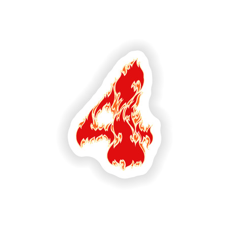 eight year old: sticker fiery font red number 4 on white background Illustration