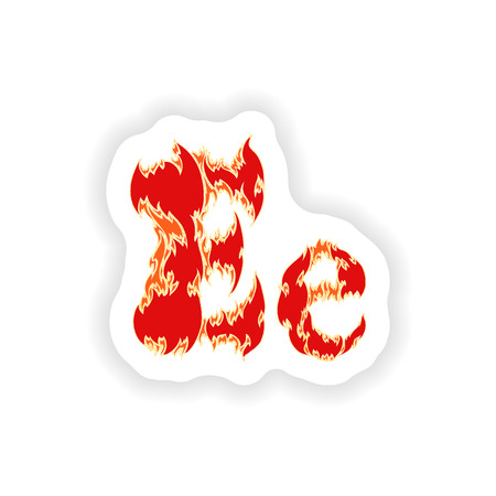 fiery font: sticker fiery font red letter E on white background