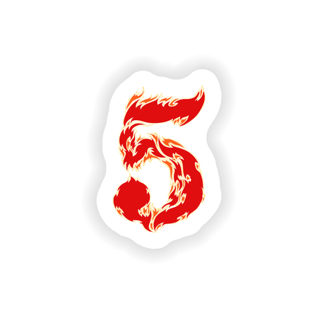 eight year old: sticker fiery font red number 5 on white background