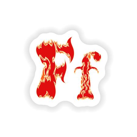 fiery font: sticker fiery font red letter F on white background