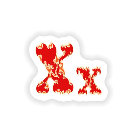 fiery font: sticker fiery font red letter X on white background Illustration