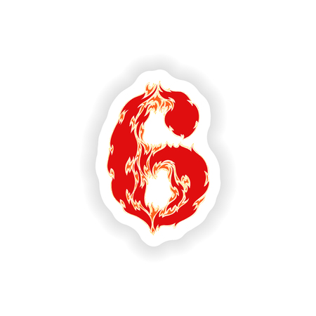 fiery font: sticker fiery font red number 6 on white background