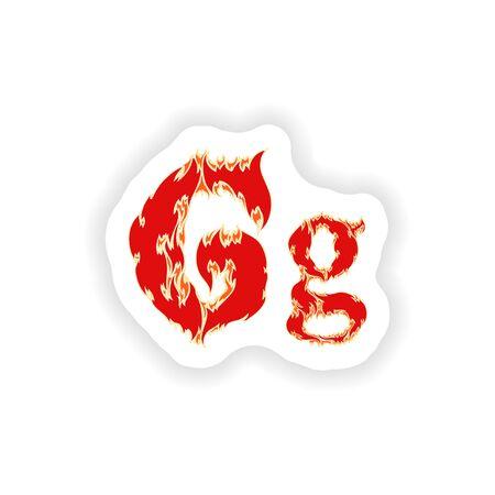 fiery font: sticker fiery font red letter G on white background