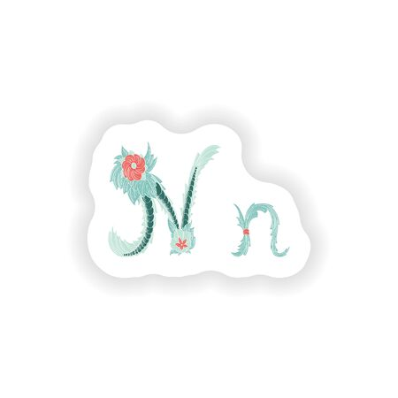stiker: stiker Abstract letter N logo icon  in Blue tropical style