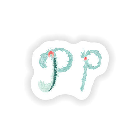 stiker: stiker Abstract letter P logo icon  in Blue tropical style