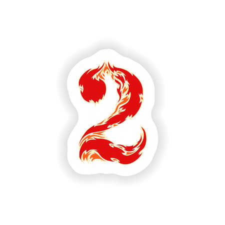 fiery font: sticker fiery font red number 2 on white background Illustration