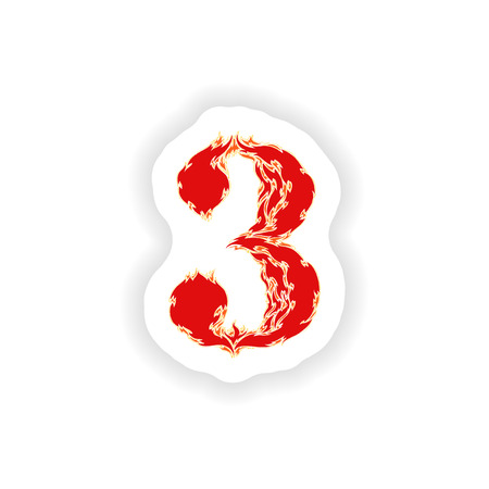 eight year old: sticker fiery font red number 3 on white background Illustration