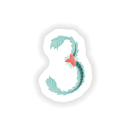 stiker: stiker Abstract number 3 logo icon  in Blue tropical style Illustration