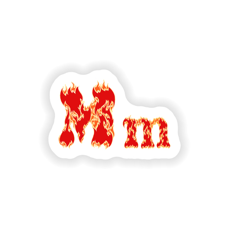 fiery font: sticker fiery font red letter M on white background