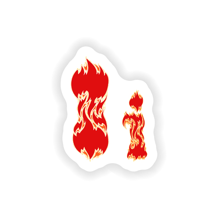 fiery font: sticker fiery font red letter I on white background