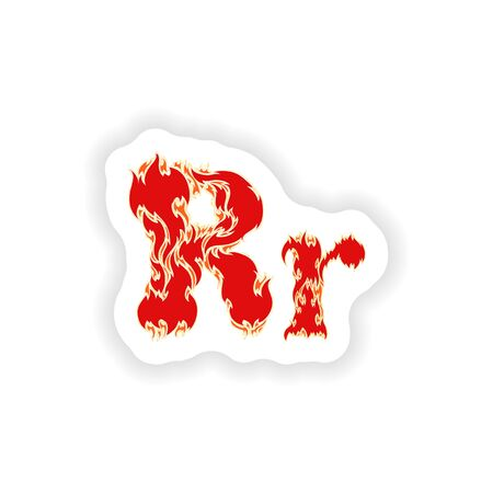 fiery font: sticker fiery font red letter R on white background