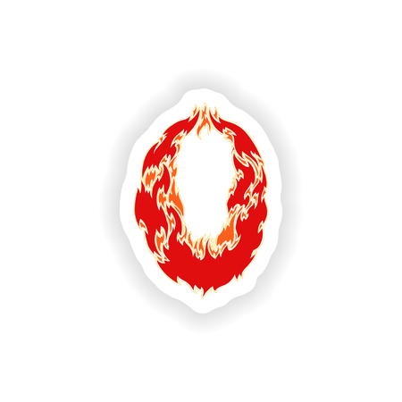 eight year old: sticker fiery font red number 0 on white background