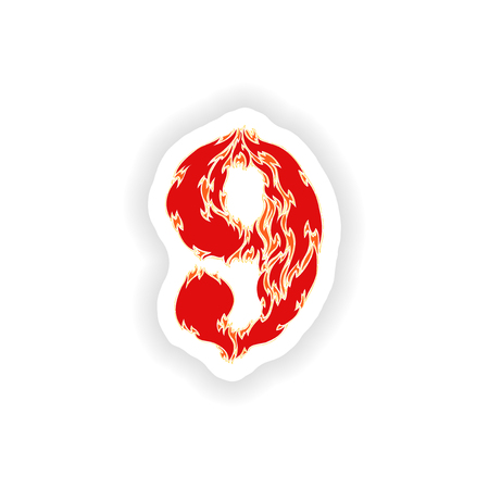 eight year old: sticker fiery font red number 9 on white background