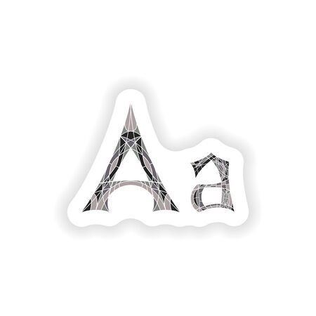 stiker: stiker Low poly letter A in gray mosaic polygon Illustration