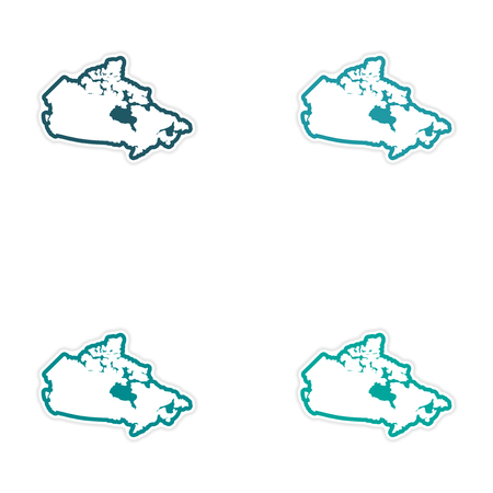 newfoundland: Set of stickers Canadian map on white background
