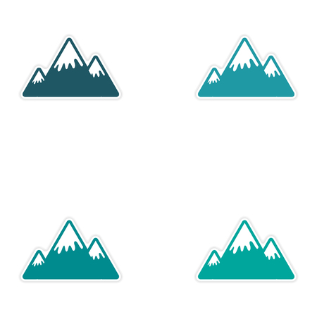 mountain view: Set of stickers Canadian mountain on white background