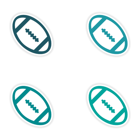 noone: Set of stickers rugby ball on white background