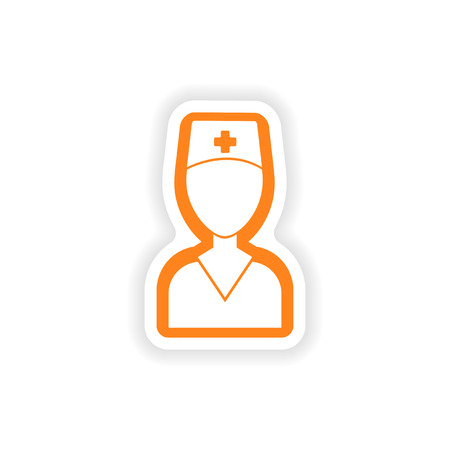 surgeons hat: paper sticker on white background medical worker Illustration