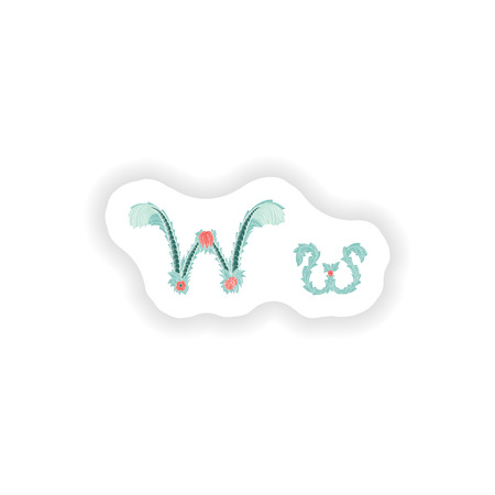 stiker: stiker Abstract letter W logo icon  in Blue tropical style Illustration