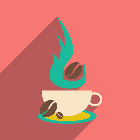aroma: Flat with shadow icon and mobile application coffee aroma