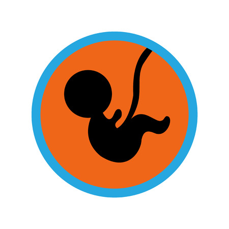Stylish flat icon on white background child in womb