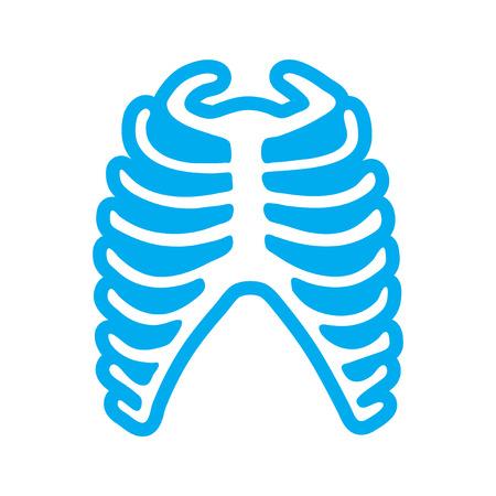 chest pain: flat icon on white background human rib