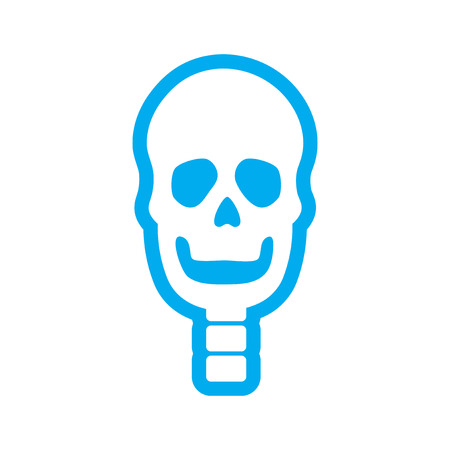 clavicle: flat icon on white background human skull Illustration