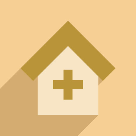 medical cross symbol: Flat with shadow icon and mobile application Hospital