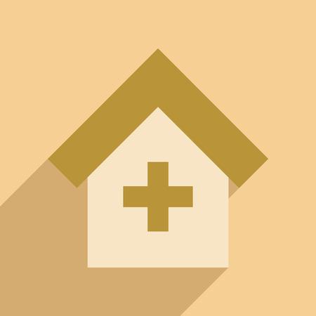 simbolo medicina: Plana con el icono de la sombra y el Hospital de aplicaciones m�viles