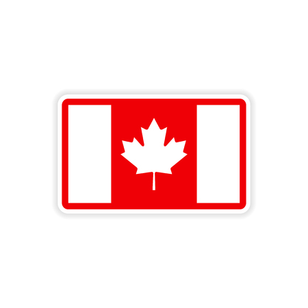 canadian flag: paper sticker Canadian flag on white background