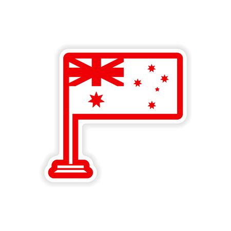 australische flagge: paper sticker Australian flag on white background