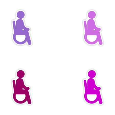 paralyze: Set of stickers man in wheelchair on white background